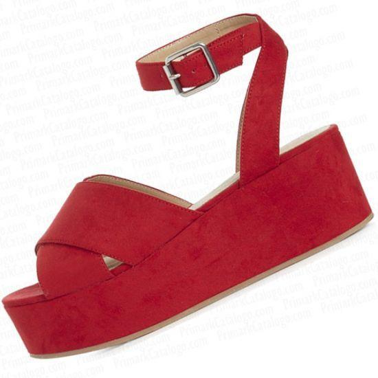 sandalias cuña rojas baratas
