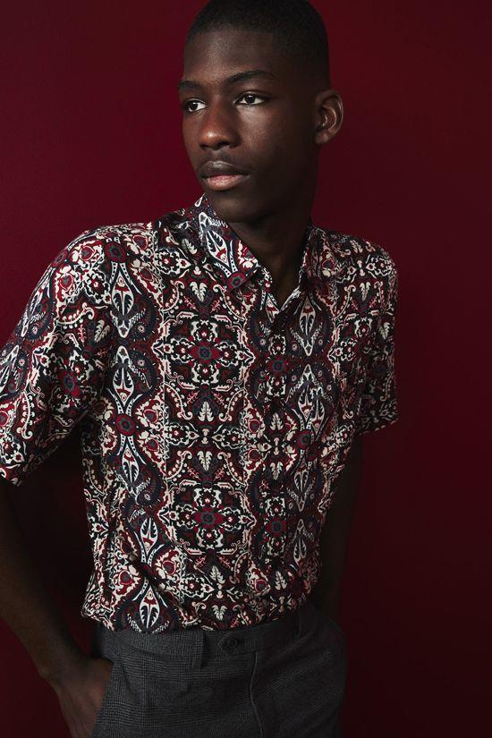 camisa estampada de hombre para fiesta