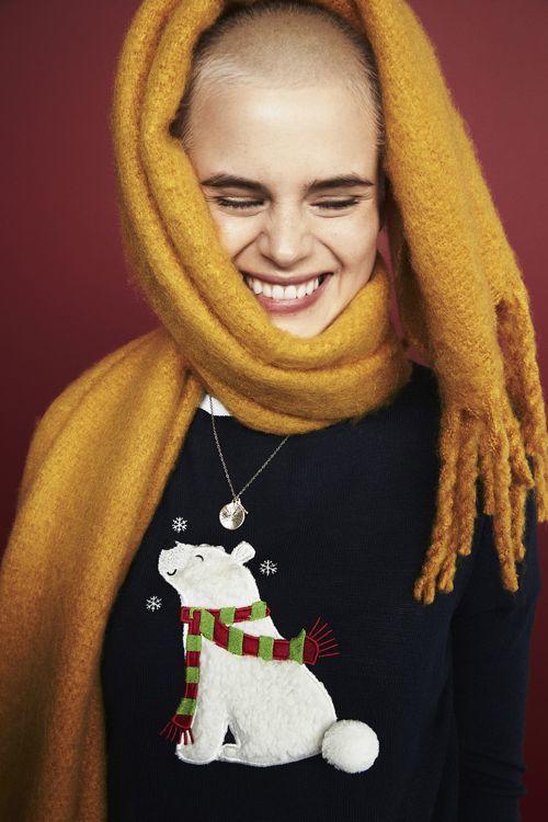 jersey navideno con oso polar mujer bufanda