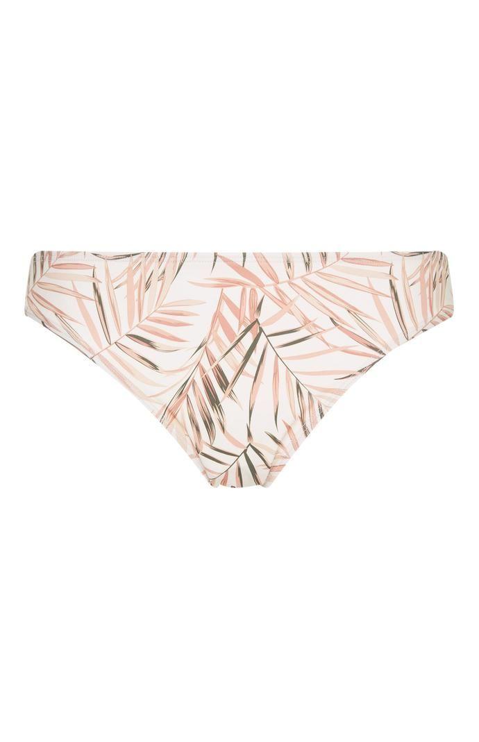 Braguita de bikini Primark con estampado de hojas rosa y blanco