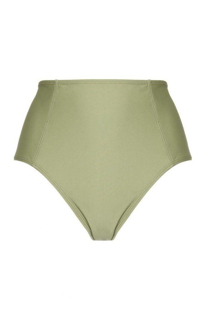 Braguita de bikini Primark de talle alto color verde oliva