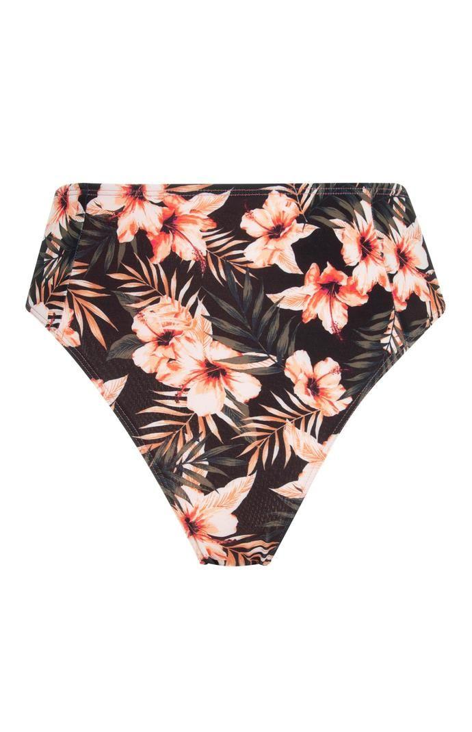 Braguita de bikini Primark de talle alto floral negra
