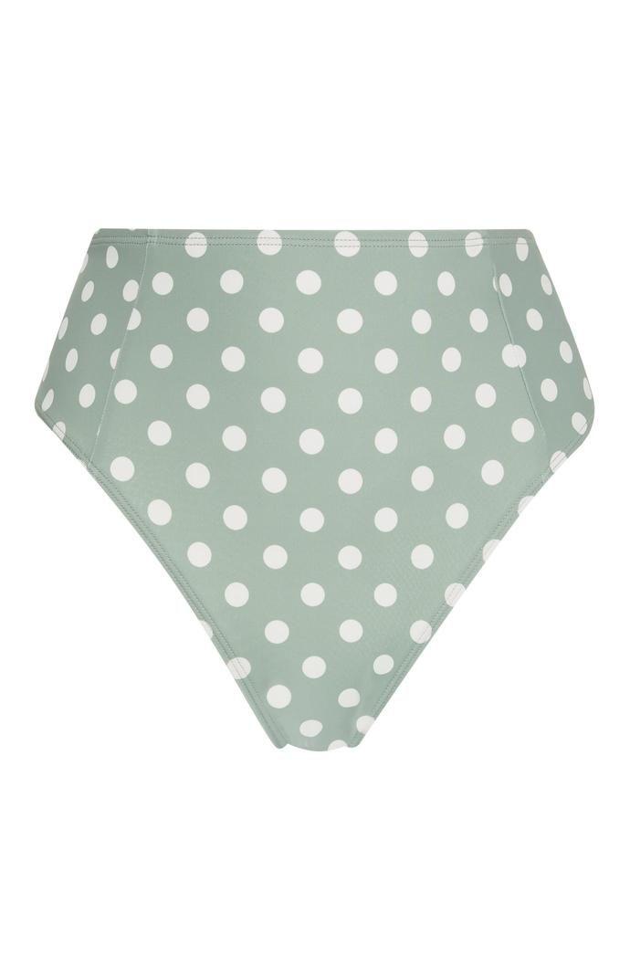 Braguita de bikini Primark de talle alto verde con lunares