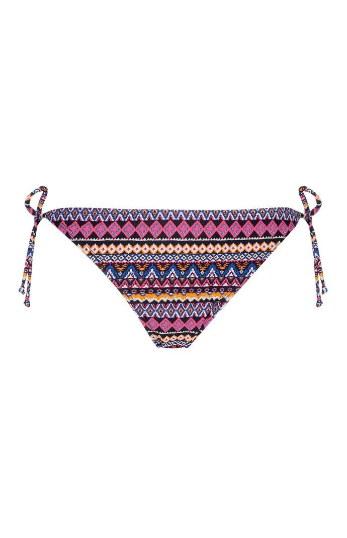 Braguita de bikini Primark morada con estampado mixto y lazos laterales