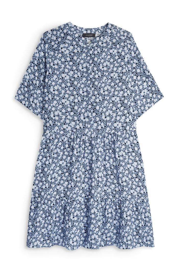 Minivestido a capas con estampado floral azul