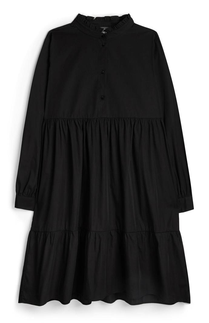 Minivestido de popelina en negro con cuello alto ondulado