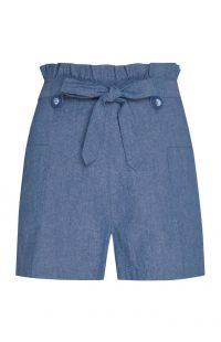 Pantalón corto con cintura «Paperbag» en color azul