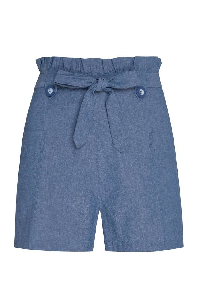 Pantalón corto Primark con cintura «Paperbag» en color azul