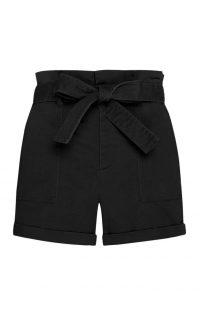 Pantalón corto con cintura «Paperbag» en color negro