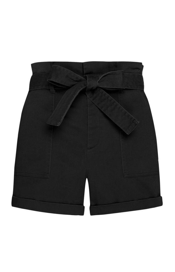 Pantalón corto Primark con cintura «Paperbag» en color negro