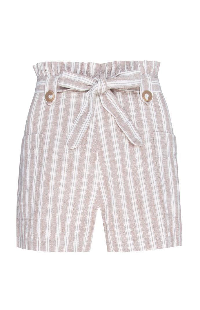 Pantalón corto Primark de talle alto en color beige a rayas