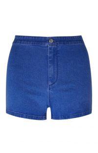 Pantalón corto de talle alto y perneras ceñidas en azul intenso