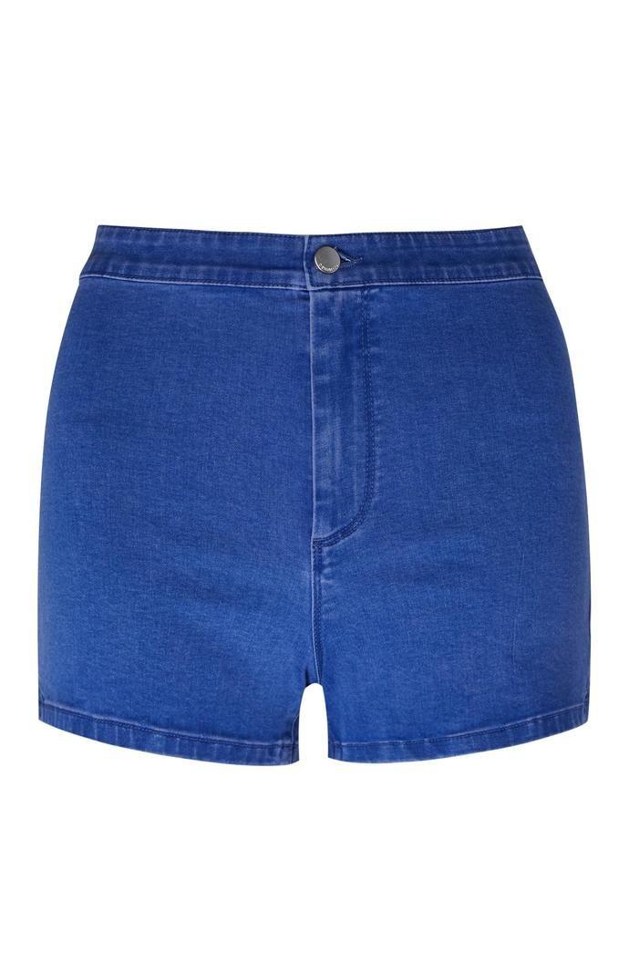 Pantalón corto Primark de talle alto y perneras ceñidas en azul intenso