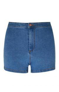 Pantalón corto de talle alto y perneras ceñidas en azul medio