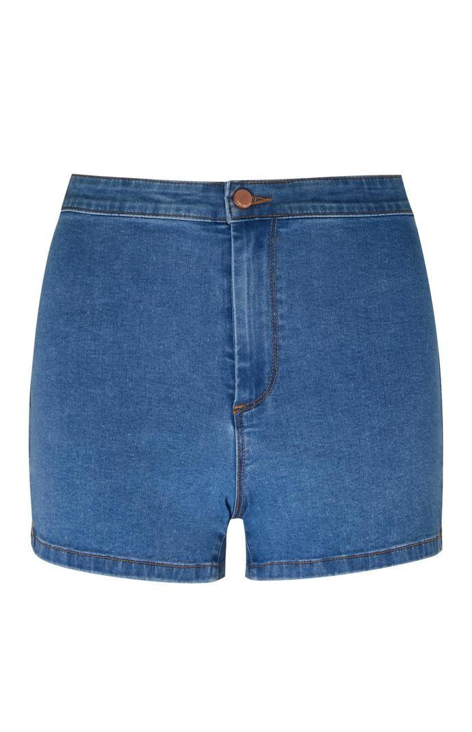 Pantalón corto Primark de talle alto y perneras ceñidas en azul medio