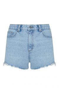 Pantalón corto deshilachado de talle alto azul claro
