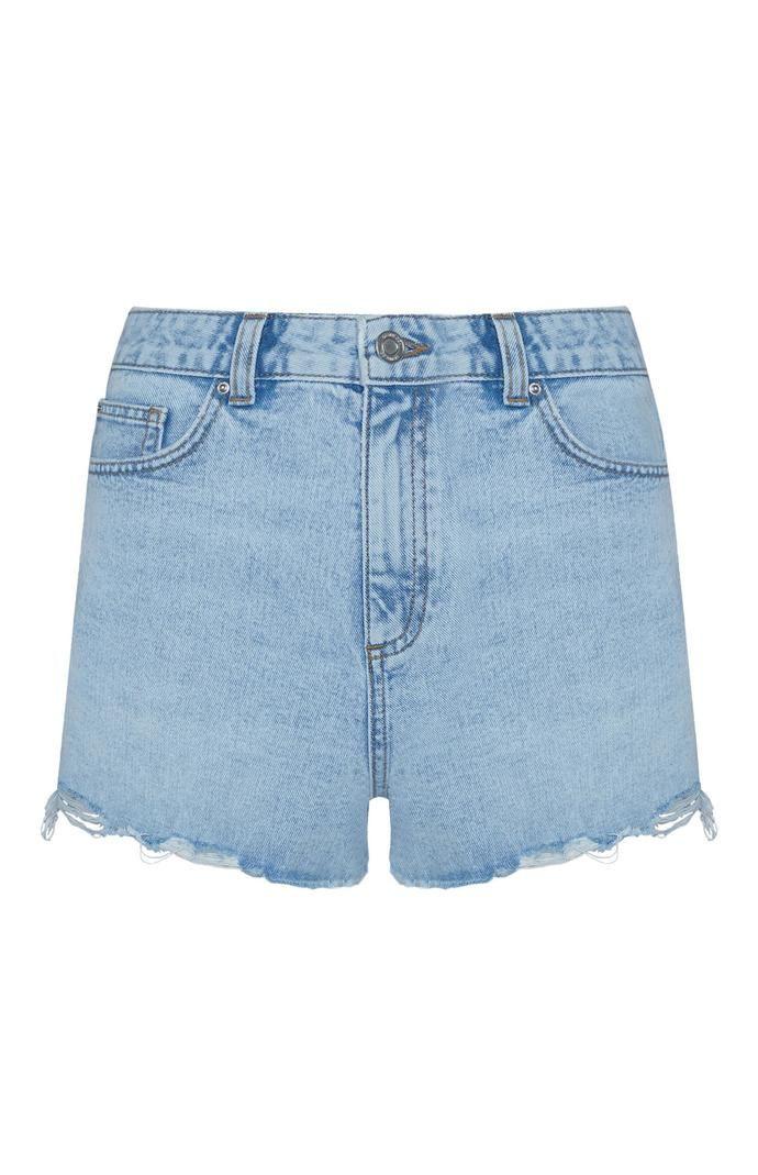 Pantalón corto Primark deshilachado de talle alto azul claro