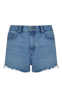 Pantalón corto deshilachado de talle alto azul oscuro