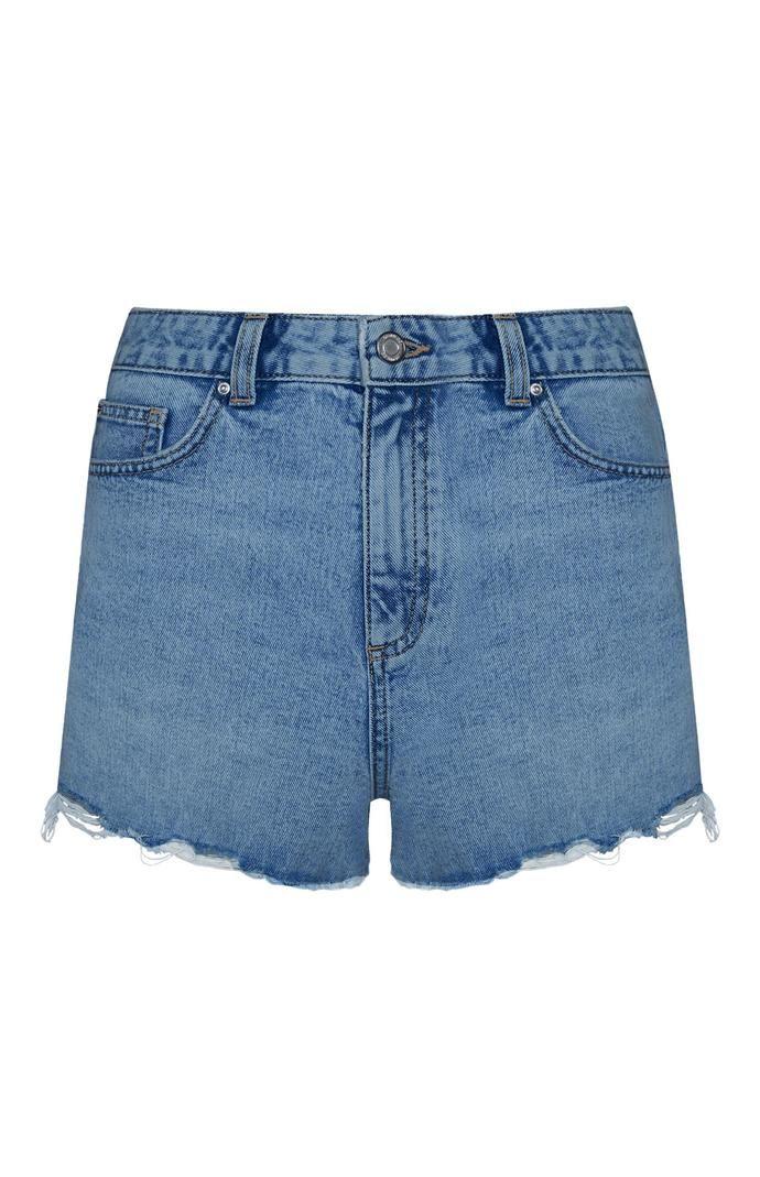 Pantalón corto Primark deshilachado de talle alto azul oscuro