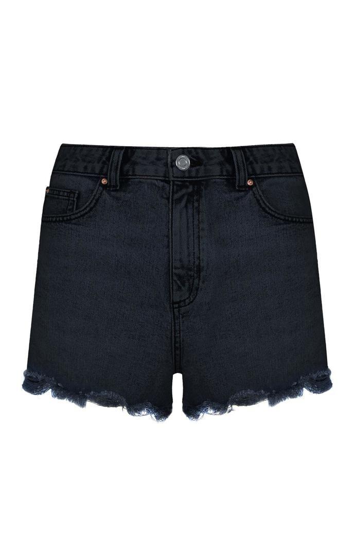 Pantalón corto Primark deshilachado de talle alto negro