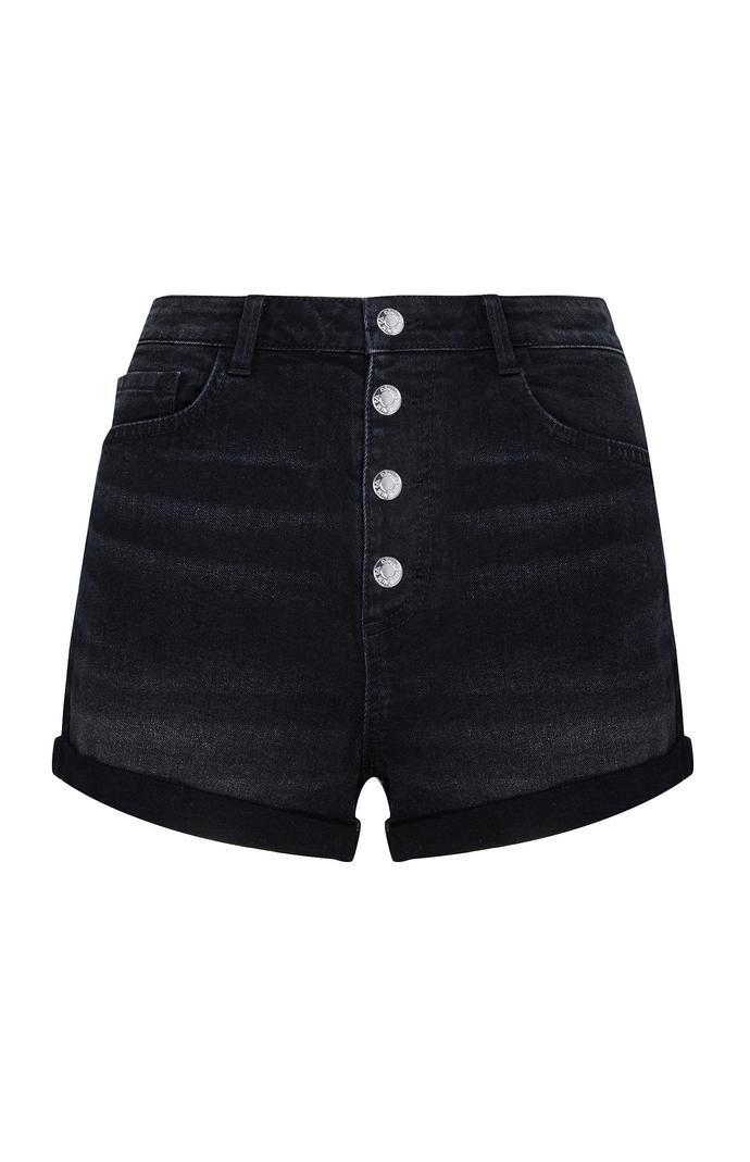 Pantalón corto Primark negro con botones a la vista