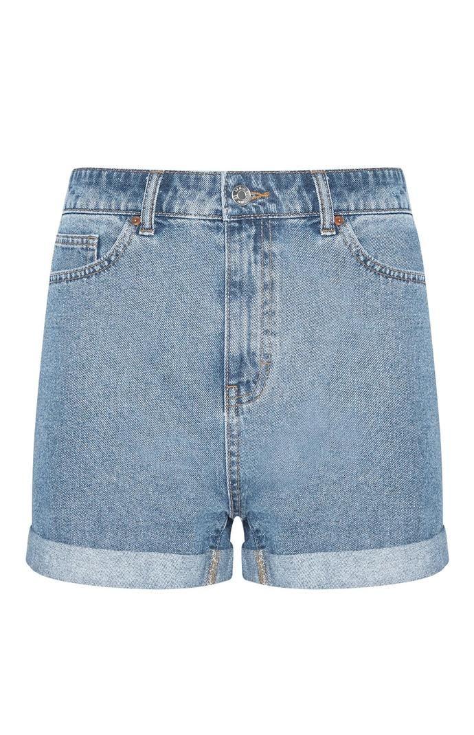 Pantalón corto Primark vaquero azul de talle alto