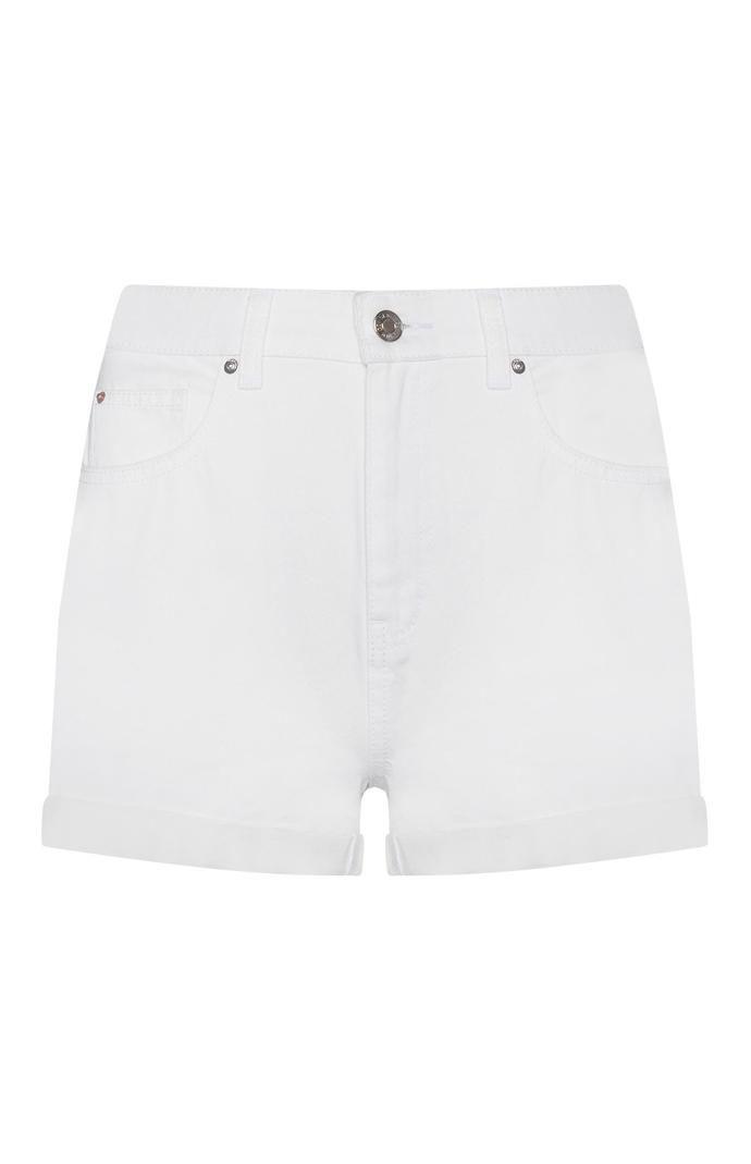 Pantalón corto Primark vaquero blanco de talle alto