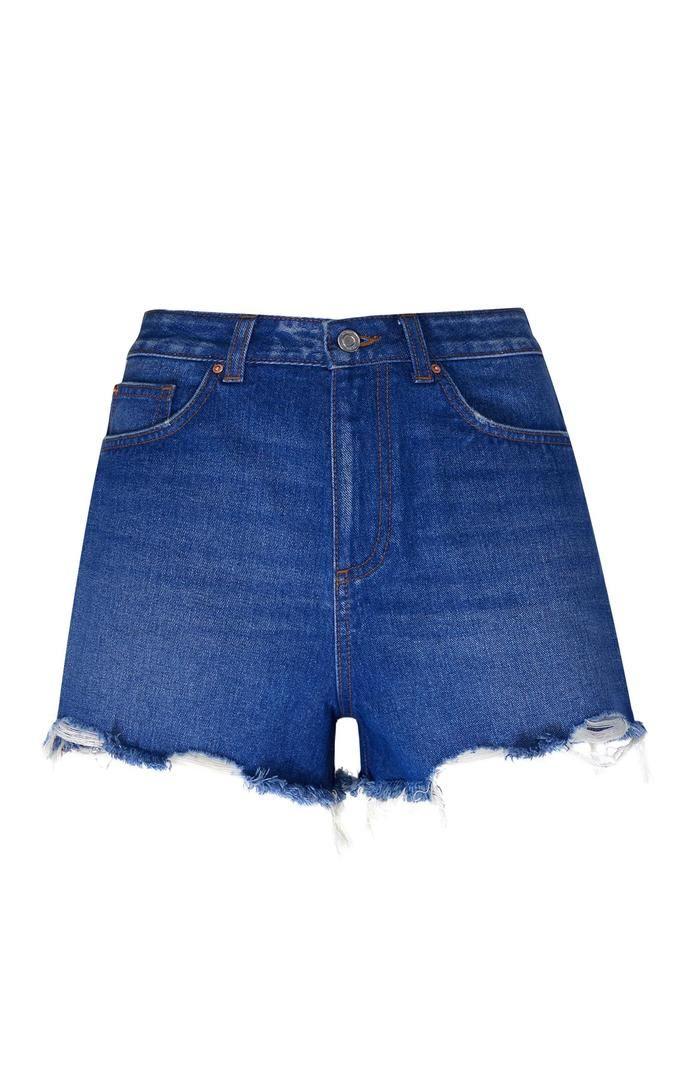 Pantalón corto Primark vaquero de talle alto azul
