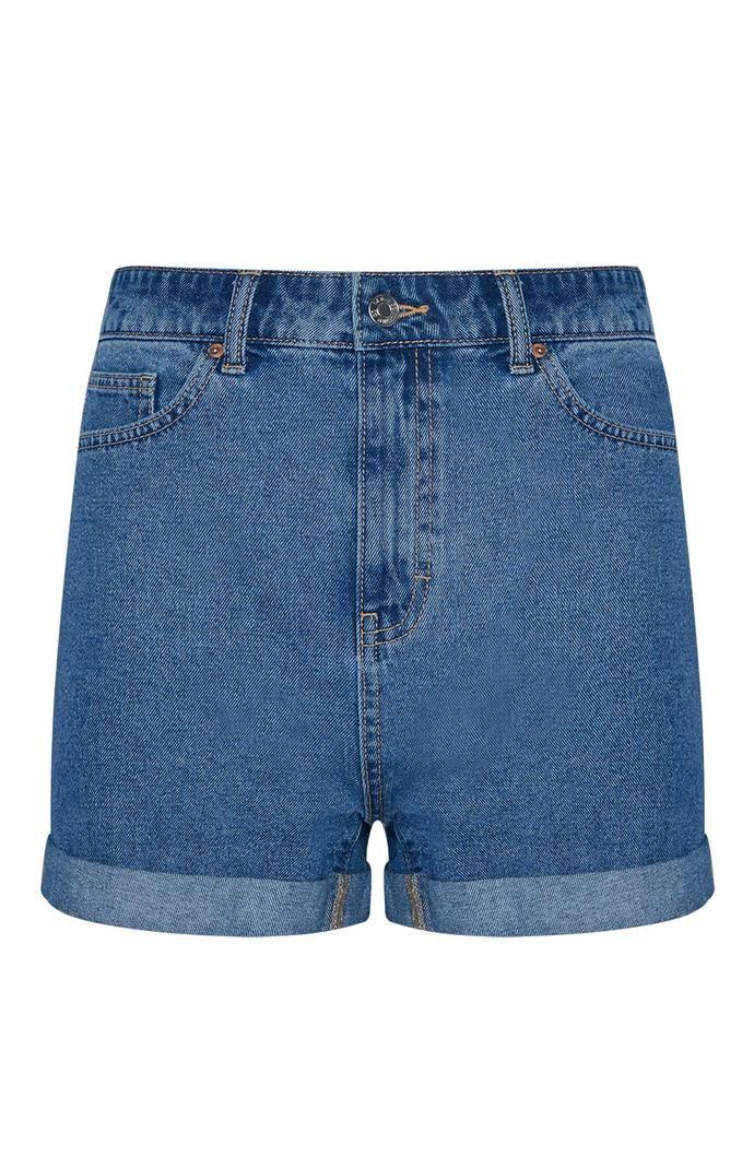 Pantalón corto Primark vaquero de tiro alto azul