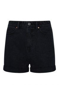 Pantalón corto vaquero de tiro alto negro