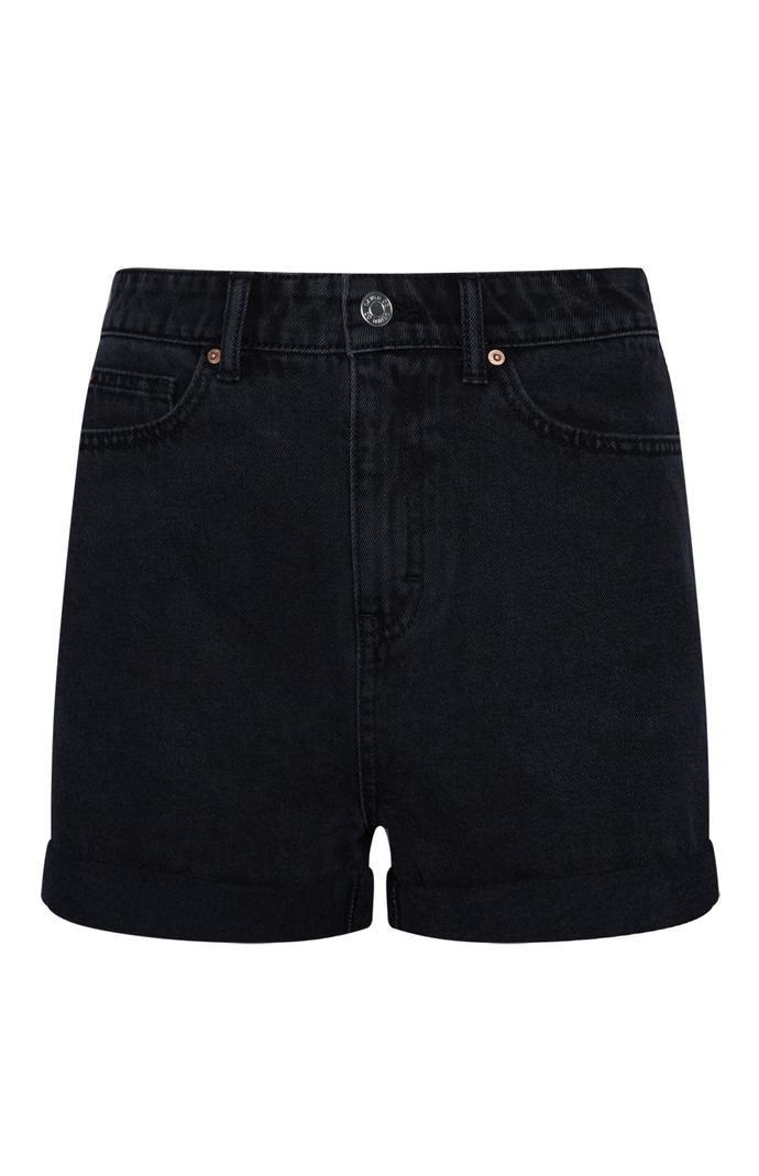 Pantalón corto Primark vaquero de tiro alto negro
