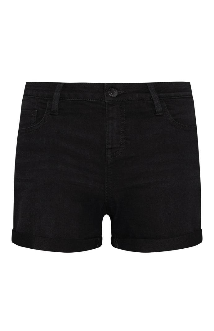 Pantalón corto Primark vaquero negro con dobladillo