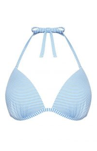 Top de bikini a rayas azules y blancas