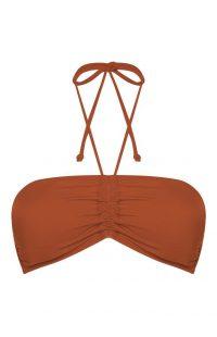 Top de bikini bandeau color teja para combinar