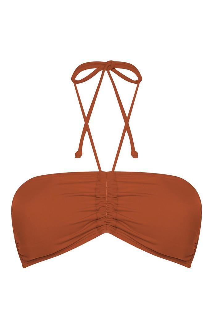 Top de bikini Primark bandeau color teja para combinar