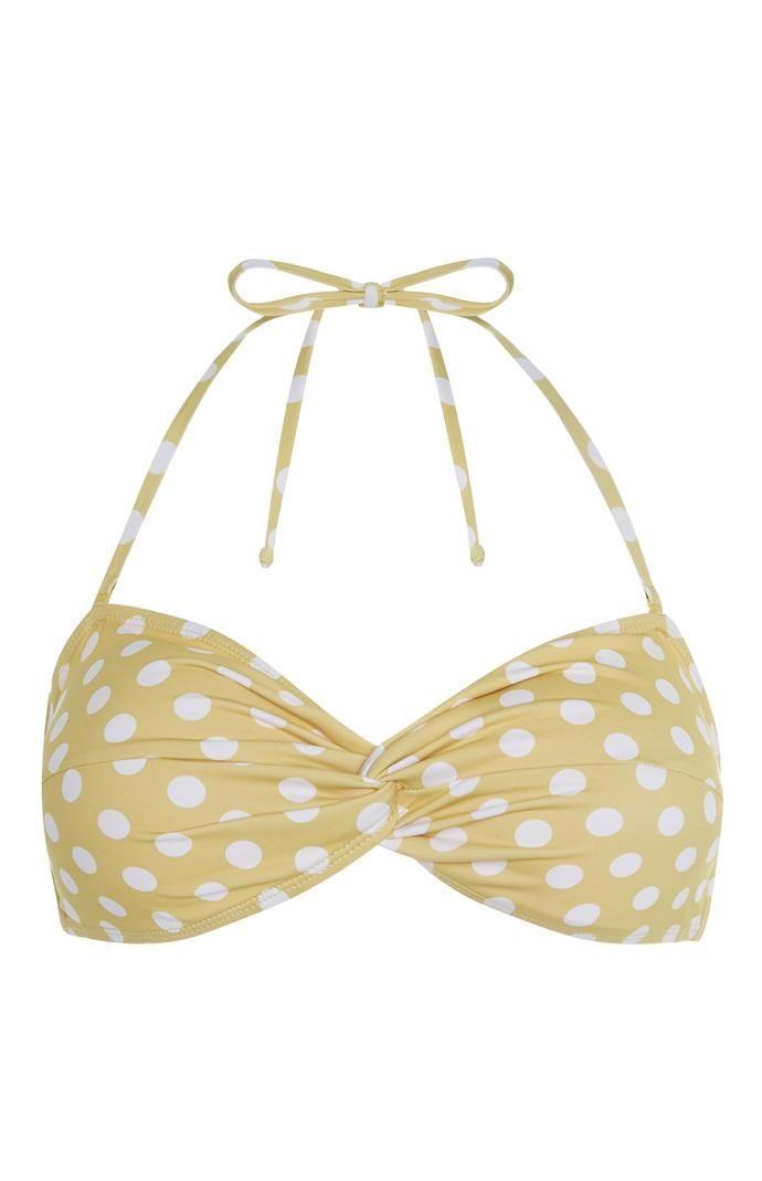 Top de bikini Primark bandeau con lunares amarillos