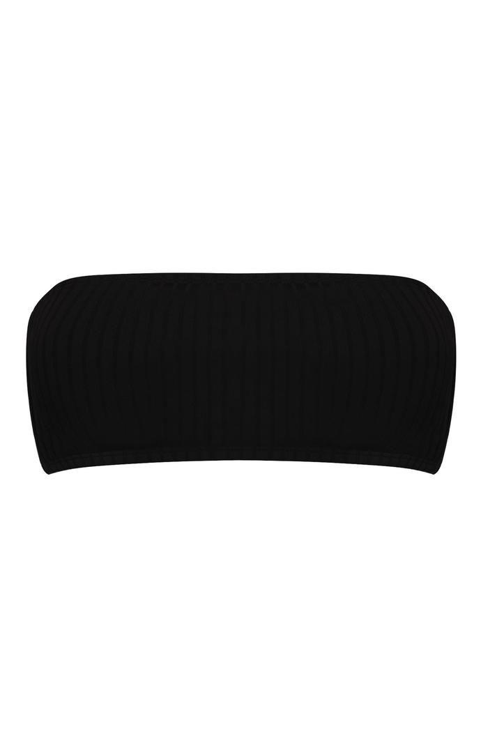 Top de bikini Primark bandeau de canalé negro