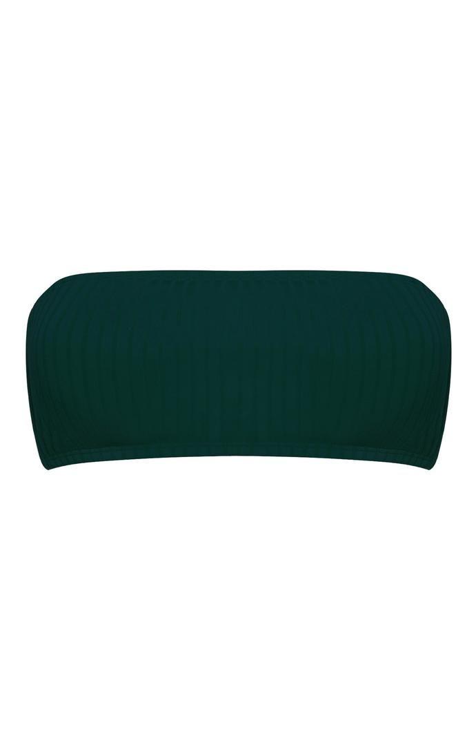 Top de bikini Primark bandeau de canalé verde bosque