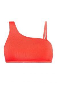 Top de bikini color coral con un solo tirante