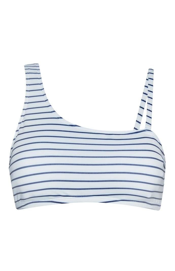 Top de bikini Primark corto de corte asimétrico a rayas azules y blancas