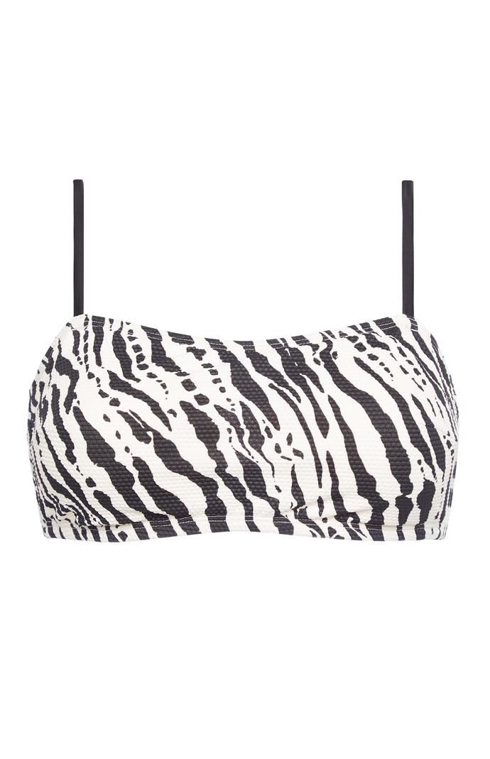 Top de bikini Primark de corte bandeau con tirantes y estampado de cebra en blanco y negro