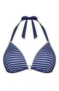 Top de bikini escotado azul a rayas