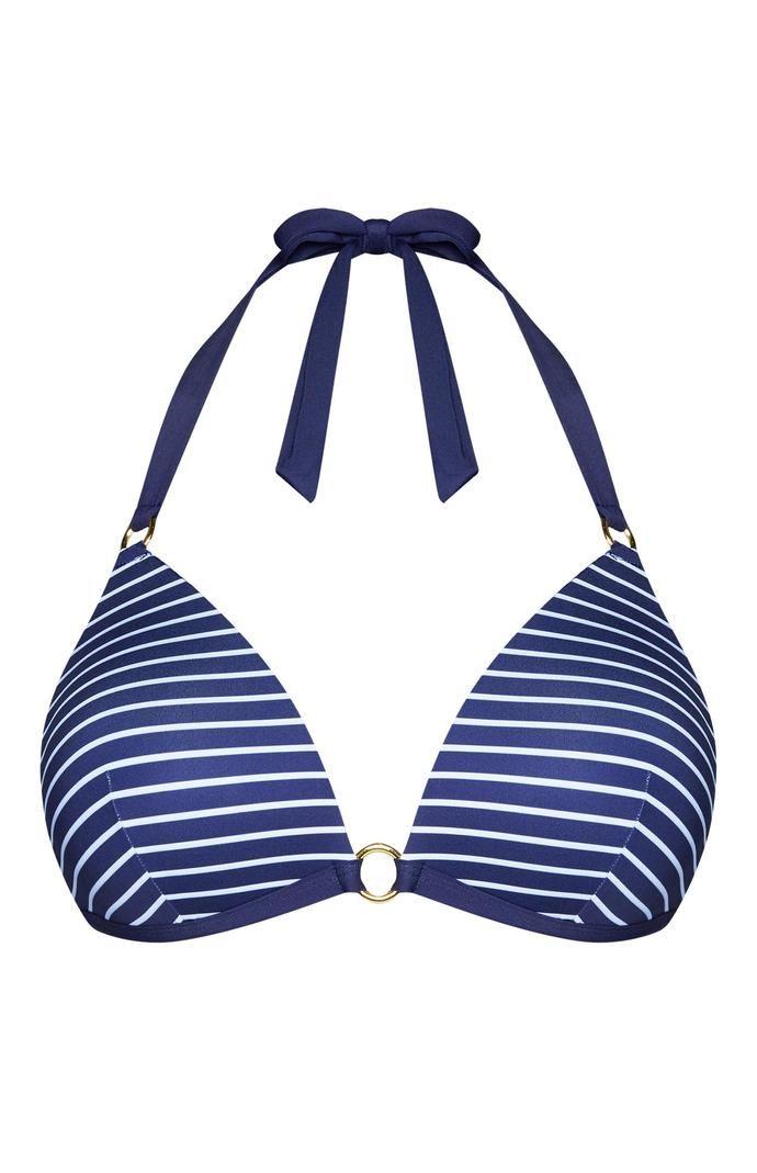 Top de bikini Primark escotado azul a rayas