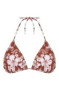 Top de bikini marrón con estampado de flores para combinar