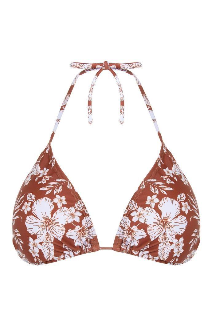 Top de bikini Primark marrón con estampado de flores para combinar