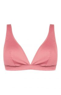 Top de bikini rosa con escote de pico pronunciado