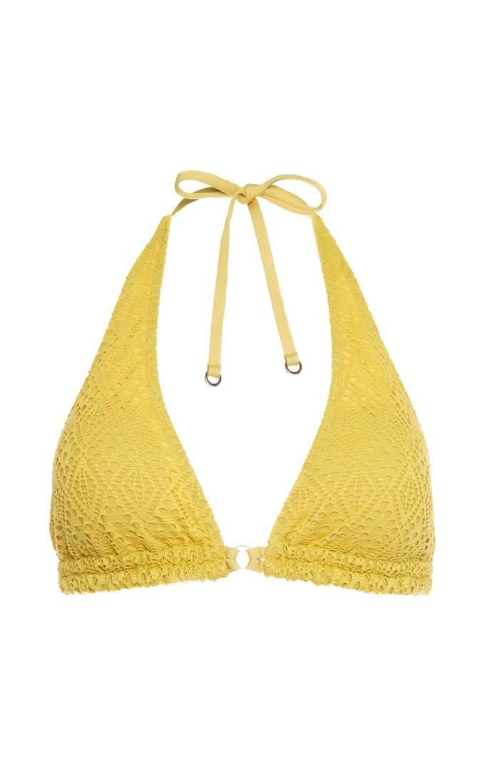 Top de bikini Primark triangular de ganchillo amarillo