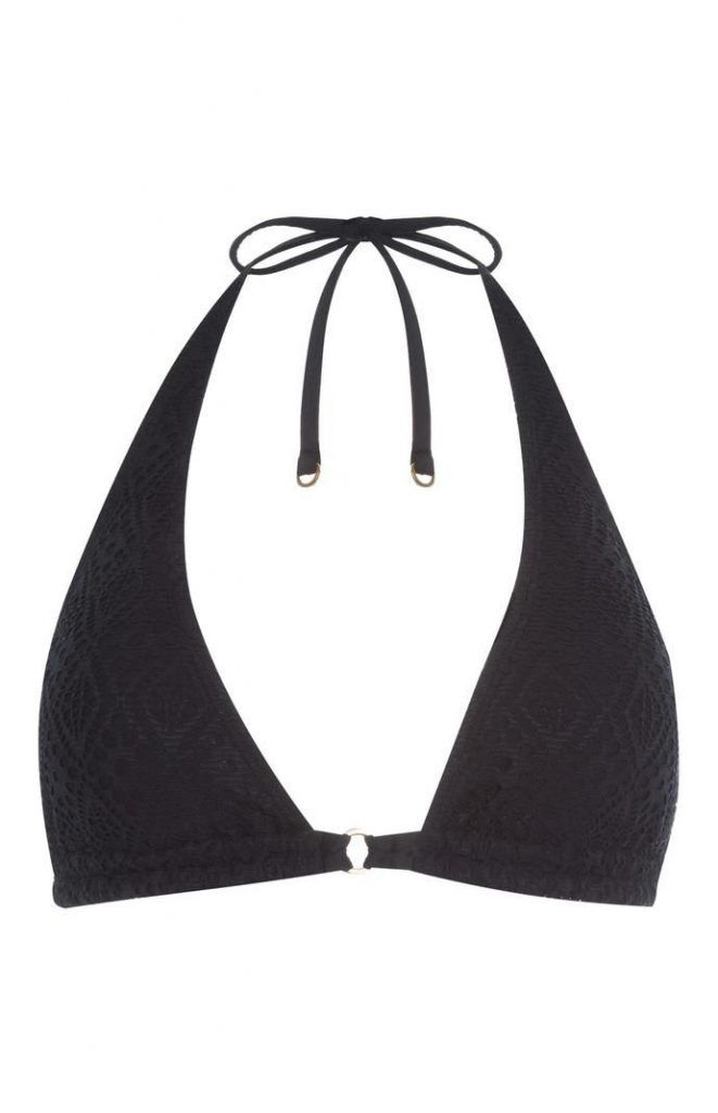 Top de bikini Primark triangular de ganchillo negro