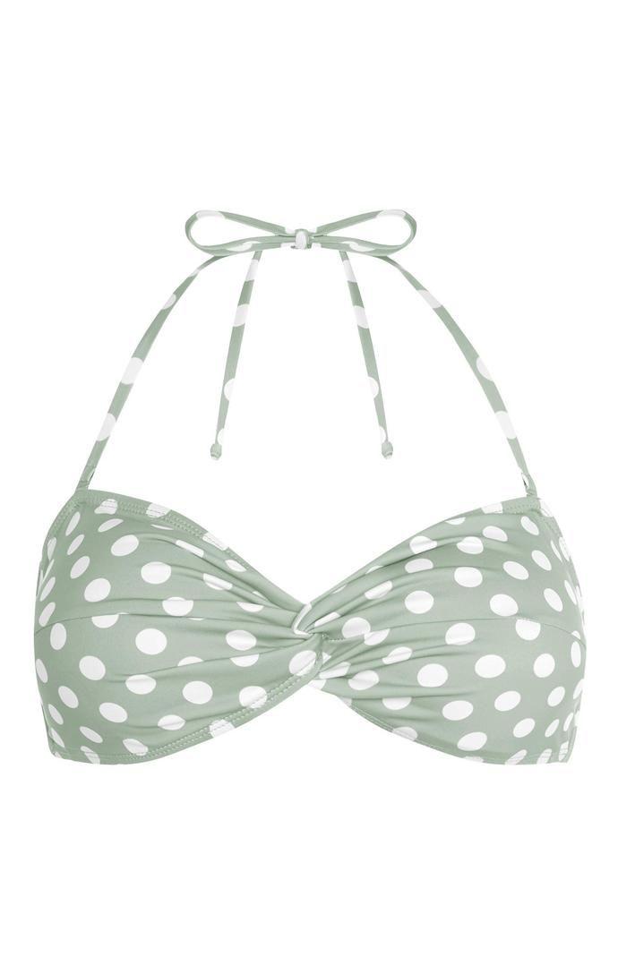 Top de bikini Primark triangular moldeado verde claro