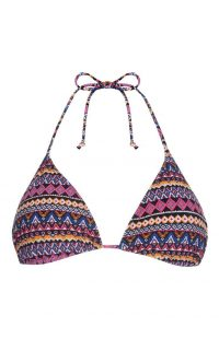 Top de bikini triangular morado con estampado azteca